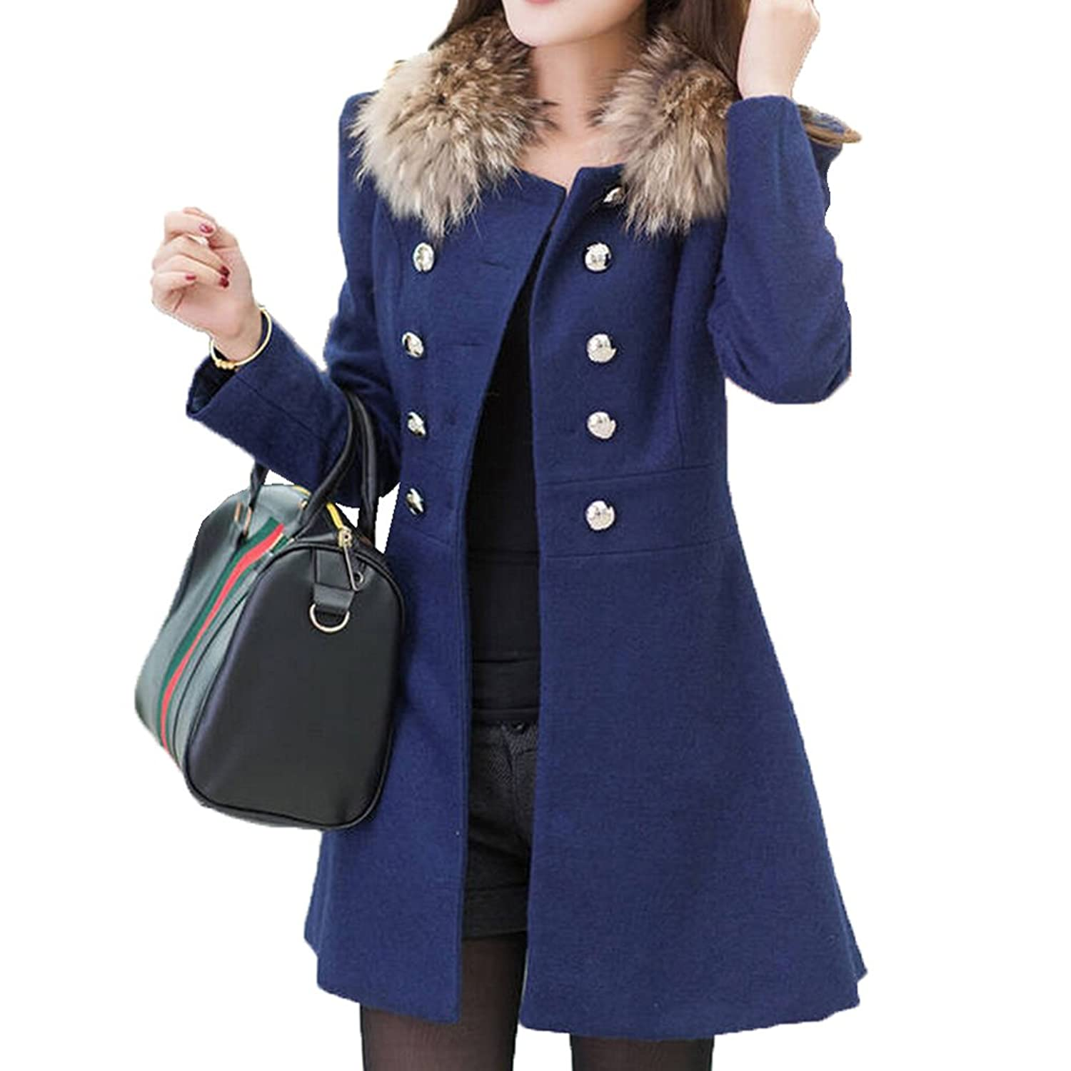 Lady's Winter Double Breasted Wool Trench Coat Warm Wind Jacket for Women