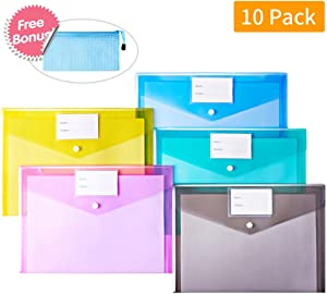 Mounio Plastic Envelopes Document Folders, 10 Pack US Letter A4 Size Transparent File Envelopes with Label Pocket& Snap Closure, Clear Filing Envelopes for School/Home/Work/Office (Assorted Color)