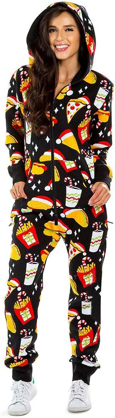 Baijiaye Unisex Adultos Onesie Pijamas Cosplay Pijama de un Pieza Halloween Navidad Carnaval Cosume con Cierre de Cremallera y Capucha