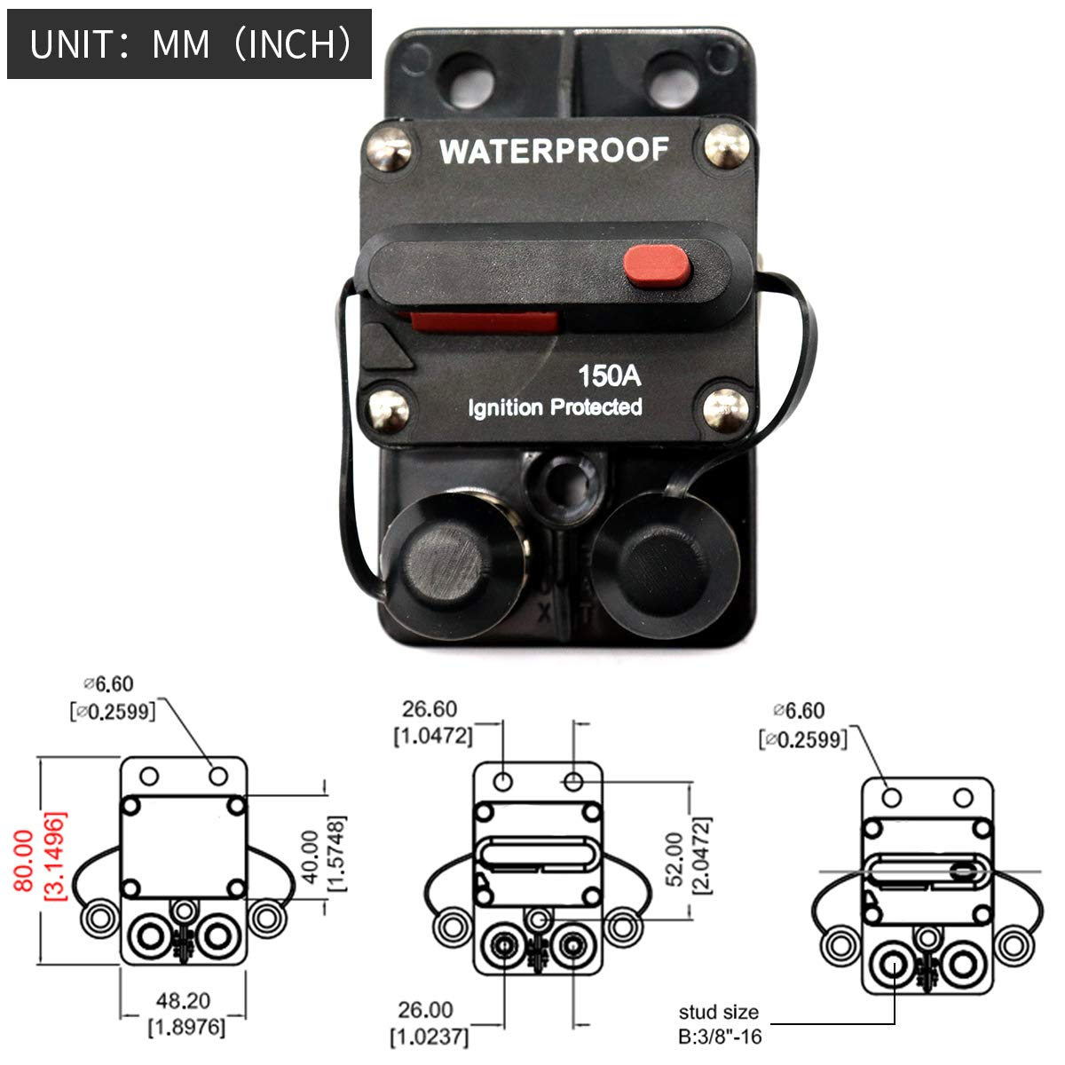 ZOOKOTO 10A Circuit Breaker Fuse Inverter with Manual Reset Button for Auto Truck RV Marine Trailer Waterproof 12V-32V DC 10 Amps