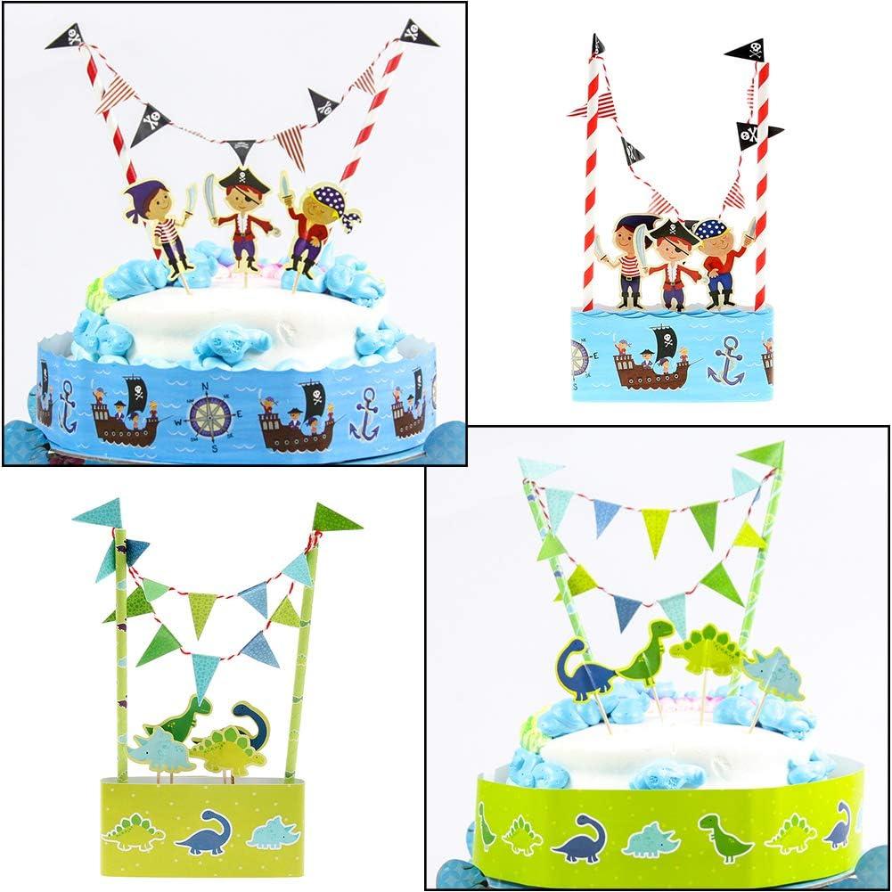 WENTS 2PCS Cartoon Dinosaur Cake Top Hat Pirate Cake Bunting Hat Set Kids Birthday Party Cake Decorations Cake Cartoon Flag