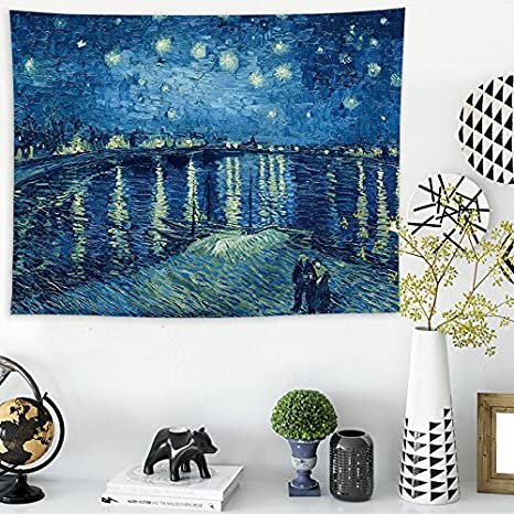 148100cm Van Gogh star map A Tapestry Tapestries Decor Wall hanging Background wall cloth van Gogh star print home tapestry Wall hanging cloth home decoration