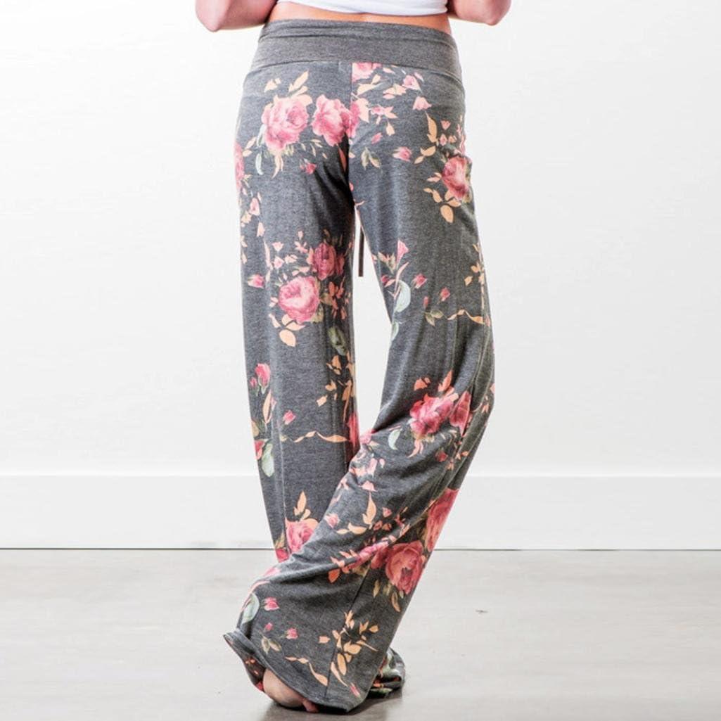 HOMEBABY Women Floral Prints Drawstring Wide Leg Pants Leggings