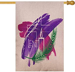Musesh Home Garden Flag, Garden Flag Vintage Seasonal Outdoor Flag 28X40Inch Abstract Religious Lent Symbols Purple Watercolor Background Cross Burlap Yard Decorative for Outdoor Lawn Yard Decor Flag