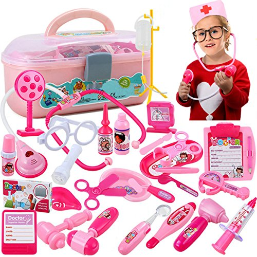 [Girl Role-playing Simulation Doctors Toy Stethoscope Injections Nurse 32 PCS (pink)] (Doctor Costumes For Toddlers)