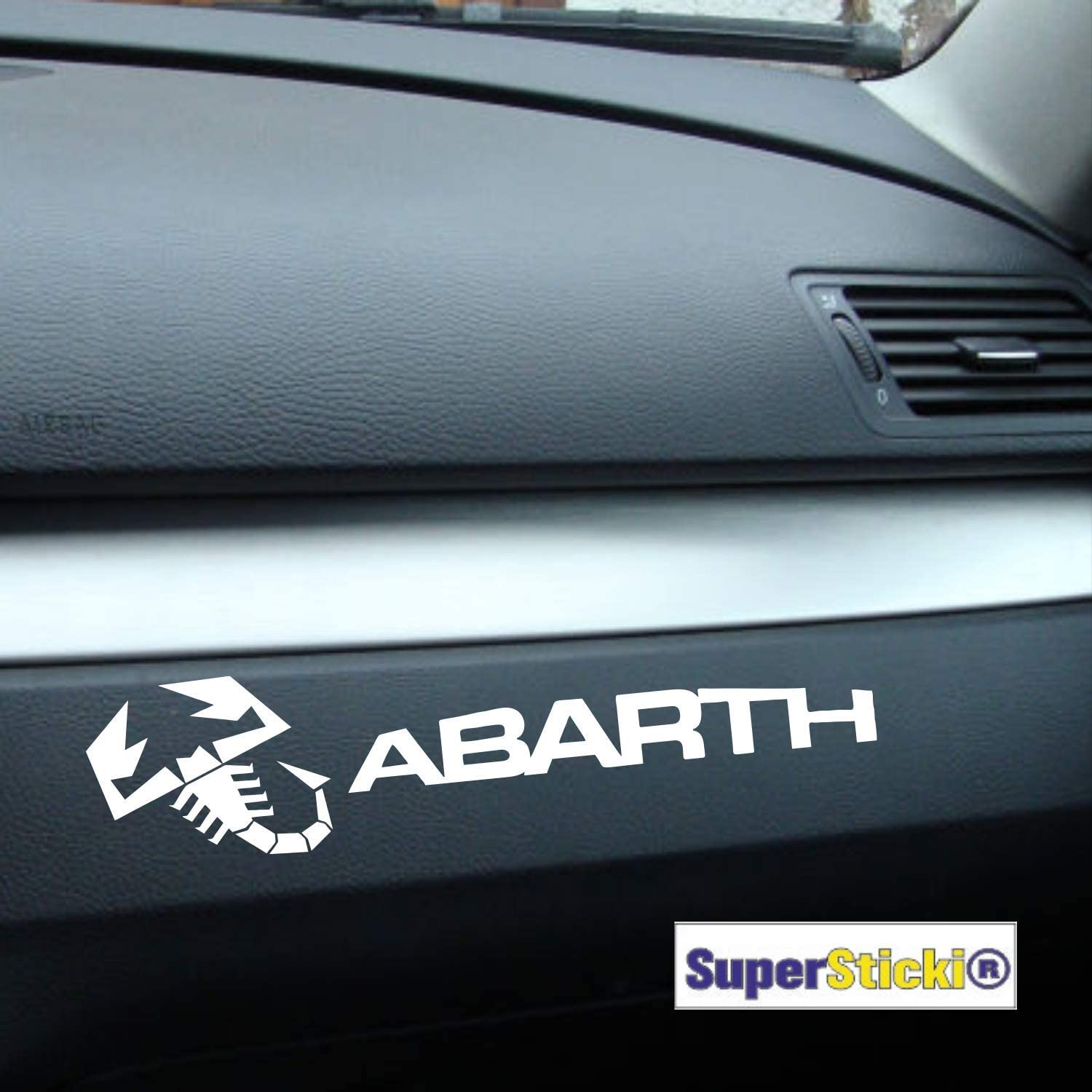 Supersticki 2 X Abarth Skorpion Armaturenbrett Rennsport Racing Tuning Decal Sticker Hobby Aufkleber Decal Sticker Aus Hochleistungsfolie Auto