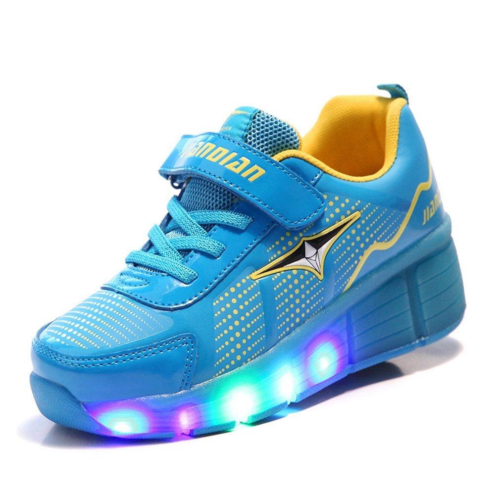 TeraSeven Sneakers Unisex Bambino Ragazza Ragazzo Scarpe a rotelle Skateboard Heelys Baskets Modalità Luminose LED Scarpe di Sport Lampeggiante
