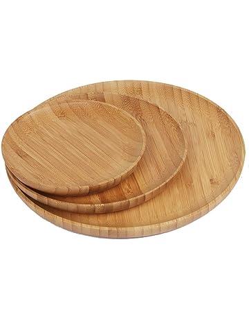 Plato de bambú (Bamboo Plates Madera Plato Plato de madera de bambú ecológico 3