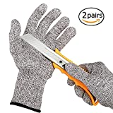 2 Pairs Cut Resistant Gloves, LKYDIGITAL High Performance Level 5 Protection, Food Grade Kitchen Glove for Hand Safety while Cutting, Cooking, doing Yard Work(Small)