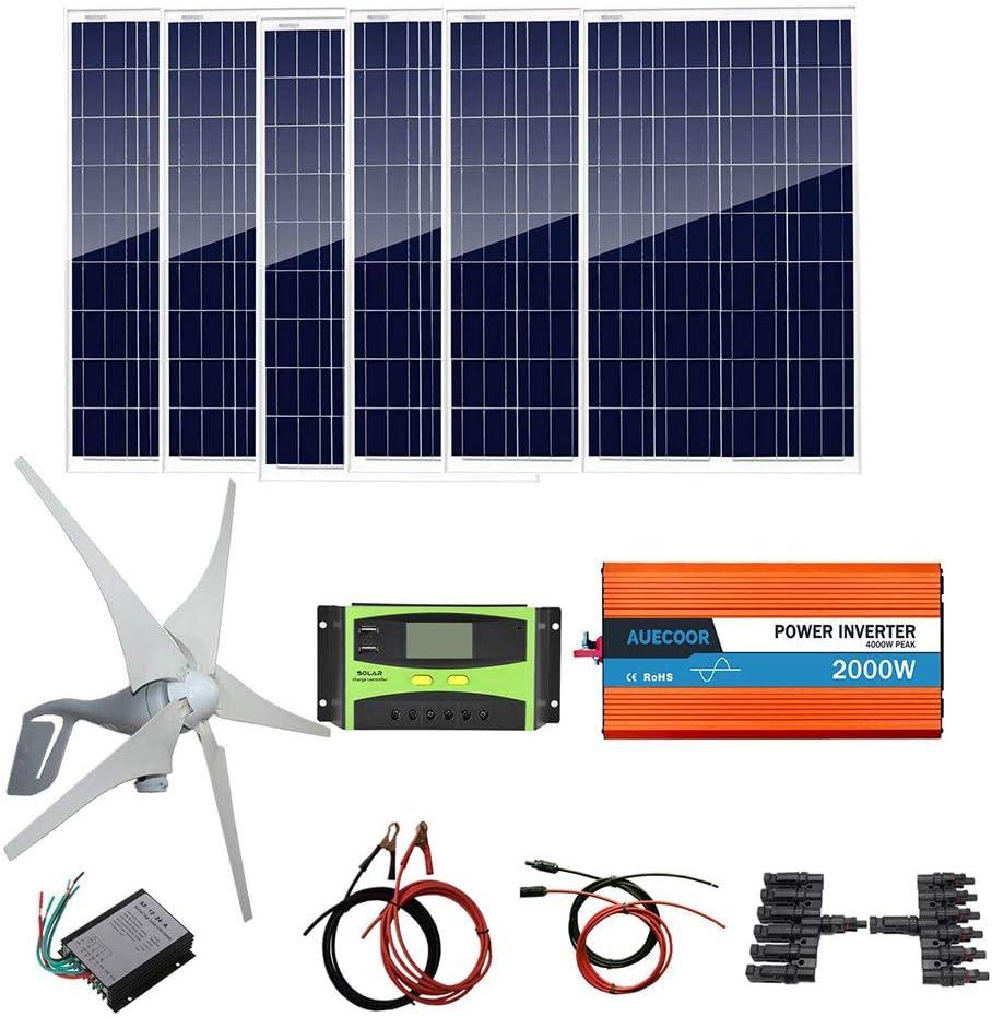 AUECOOR 1000 Watts Solar Panel Wind Turbine Kit(Hybrid System) : 6 x 100W Polycrystalline Solar Panel+ 400W Wind Turbine Generator+ 2000W Pure Since Wave Inverter(Peak 4000W)+Accessories
