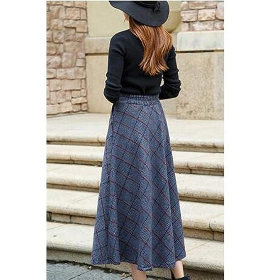 Vintage Laine Taille Longue Xyujie Femmes Hiver Jupe Treillis TclF1JK