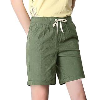 c8e9dc36cf Pandapang Womens Elastic Waist Straight Leg Bermuda Solid Color Plus Size  Casual Thin Short