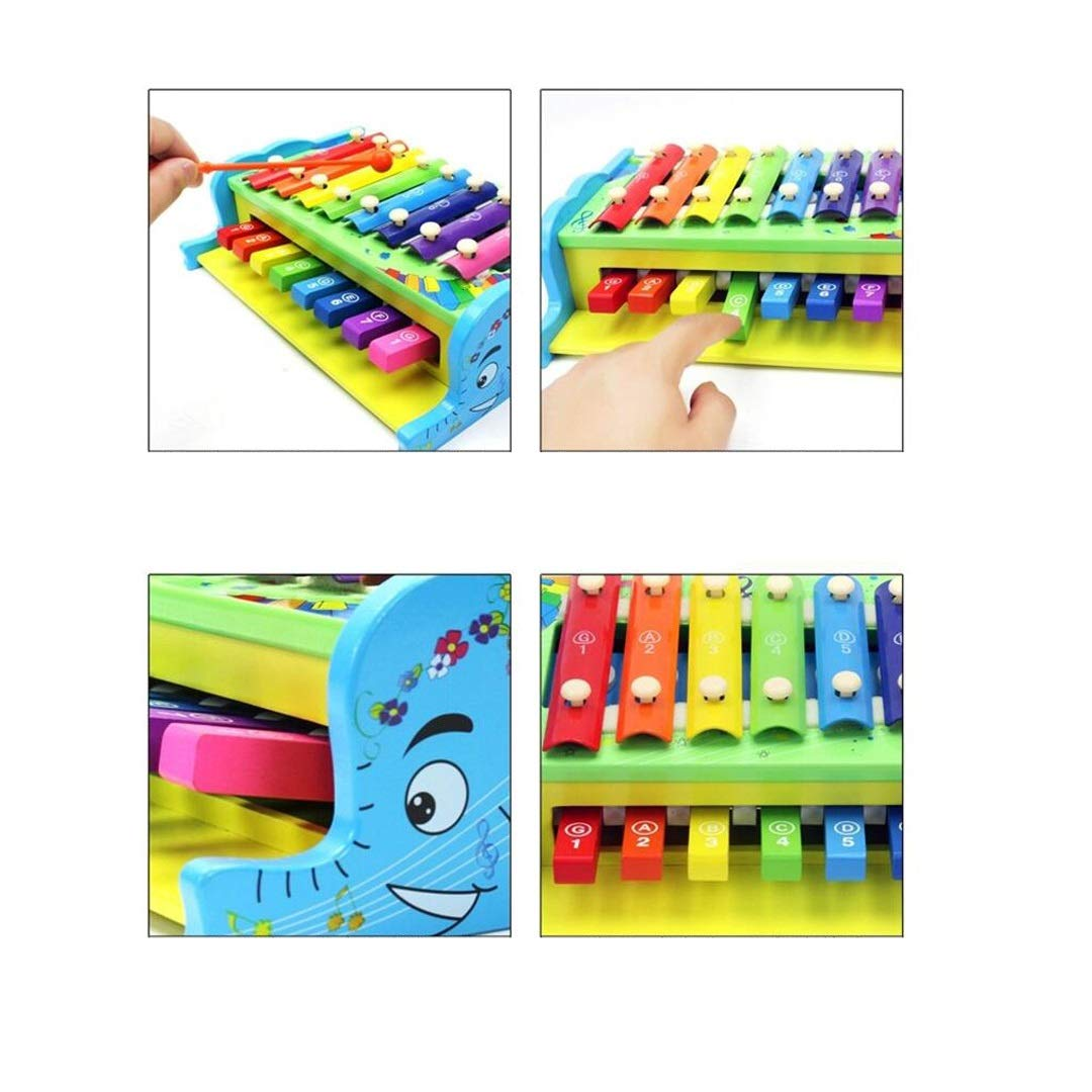 SXZHSM-Intellectual development toy Multi-Function Knocking Xylophone Two-in-one Hand Wooden Childrens Educational Early Education Music Toy 25.5x18.5x7.5cm