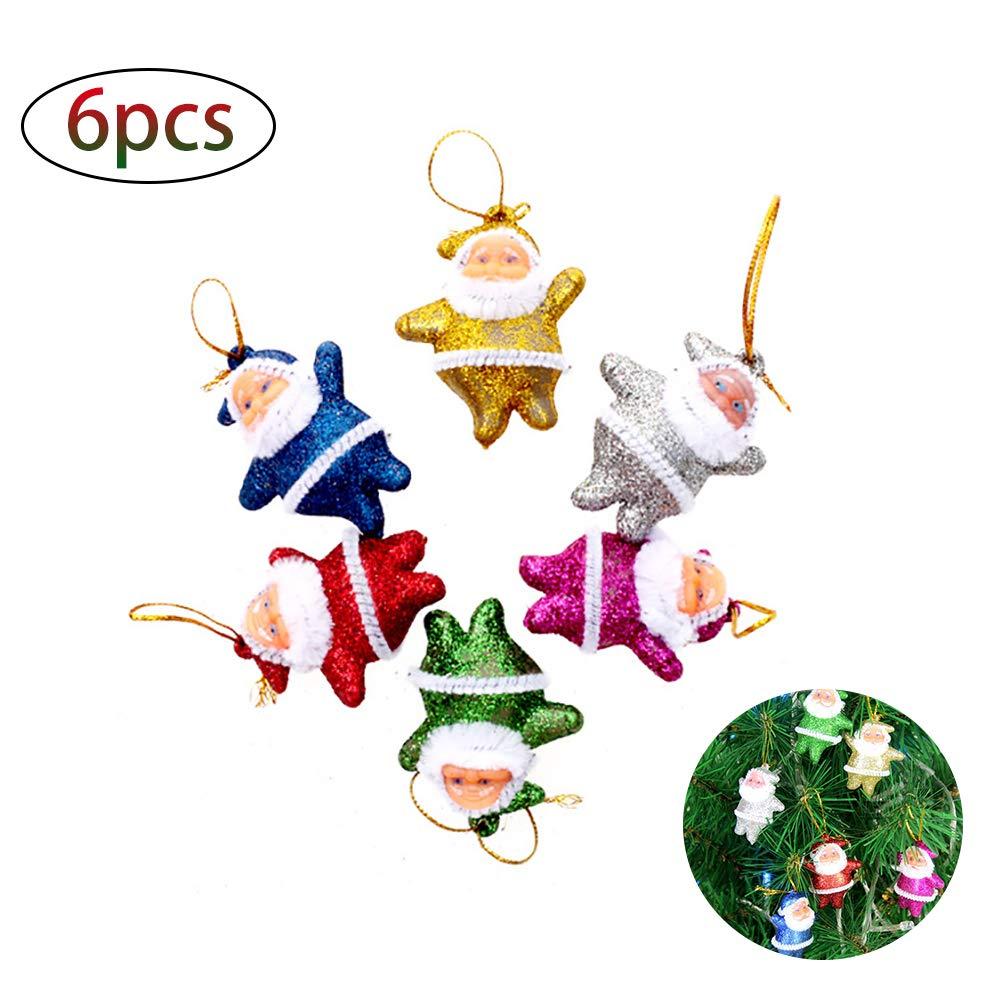 DDG EDMMS Natale Mini Babbo Natale Ornamenti Parte Festa Albero di Natale Appeso Decorazioni 6 Pezzi Decorazioni di Natale