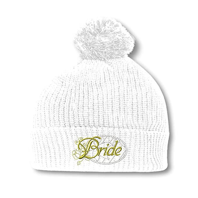 f9701d4ad52 Speedy Pros Bride Embroidery Embroidered Pom Pom Beanie Skully Hat Cap White