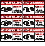 "Outdoor/Indoor (6 Pack) 3.54"" wide X 2.24"" high Home Business Security DVR CCTV Camera Video Surveillance System Window Door Warning Alert Sticker Decals **Back Self Adhesive Vinyl**"