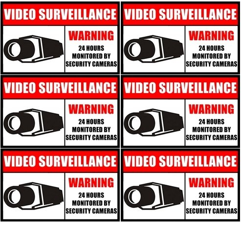 "Outdoor/Indoor (6 Pack) 3.54"" wide X 2.24"" high Home Business Security DVR CCTV Camera Video Surveillance System Window Door Warning Alert Sticker Decals **Back Self Adhesive Vinyl**"