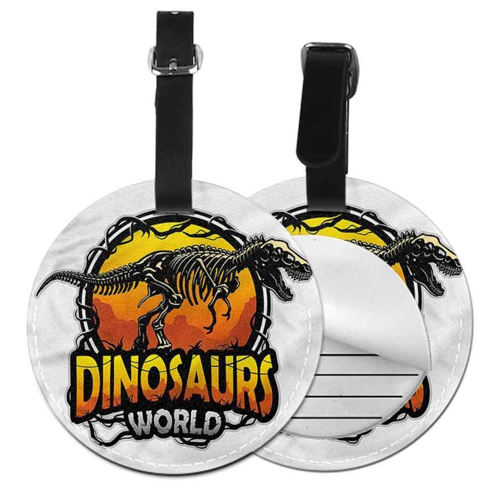 Suitcase Cartoon Luggage Tags Dinosaur,Dino Tears Up Paper Label Tag Address Holder