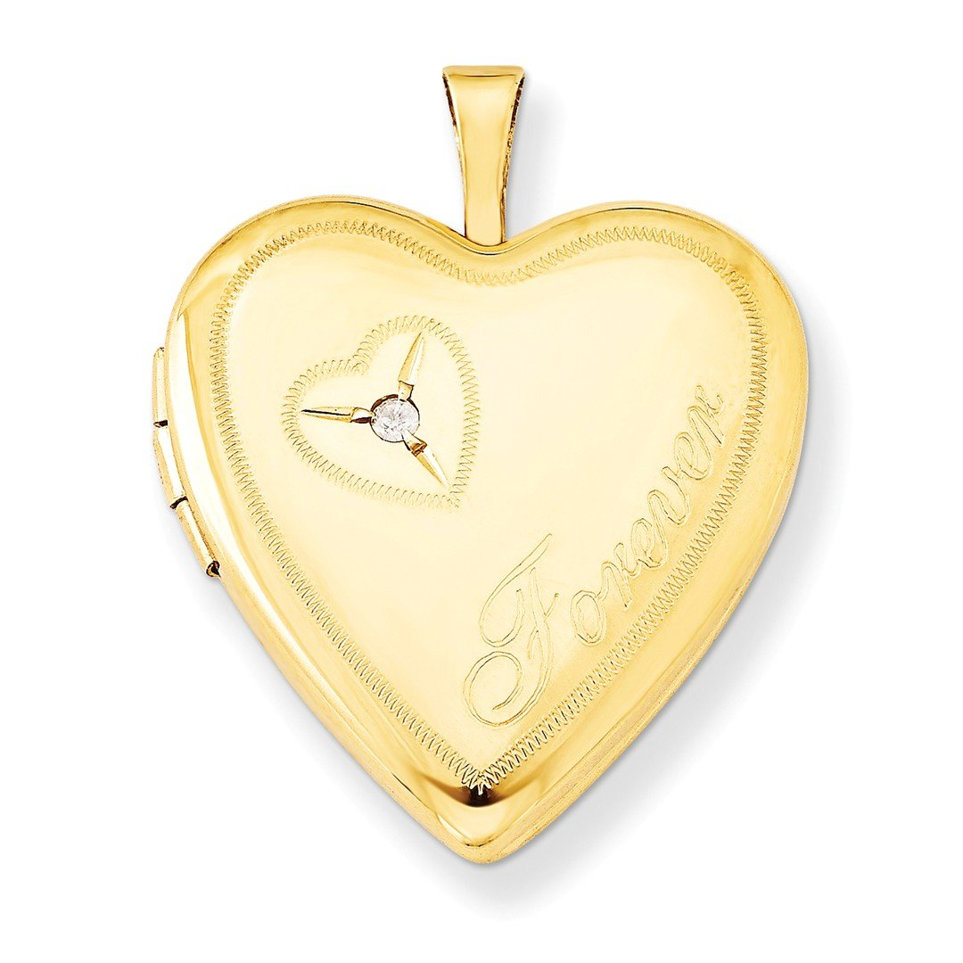 ICE CARATS 925 Sterling Silver Gold Filled 20mm Diamond In Heart Forever Photo Pendant Charm Locket Chain Necklace That Holds Pictures W/chain Fine Jewelry Gift Set For Women Heart