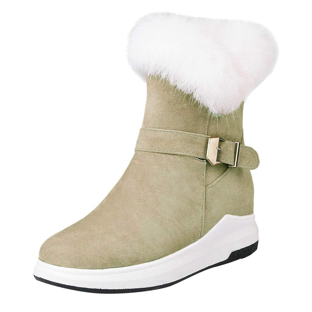 Dainzuy Women's Warm Fur Lined Comfort Pull On Snow Winter Ankle Booties Round Toe Flatform Suede Sneakers by Dainzuy Women's Shoes