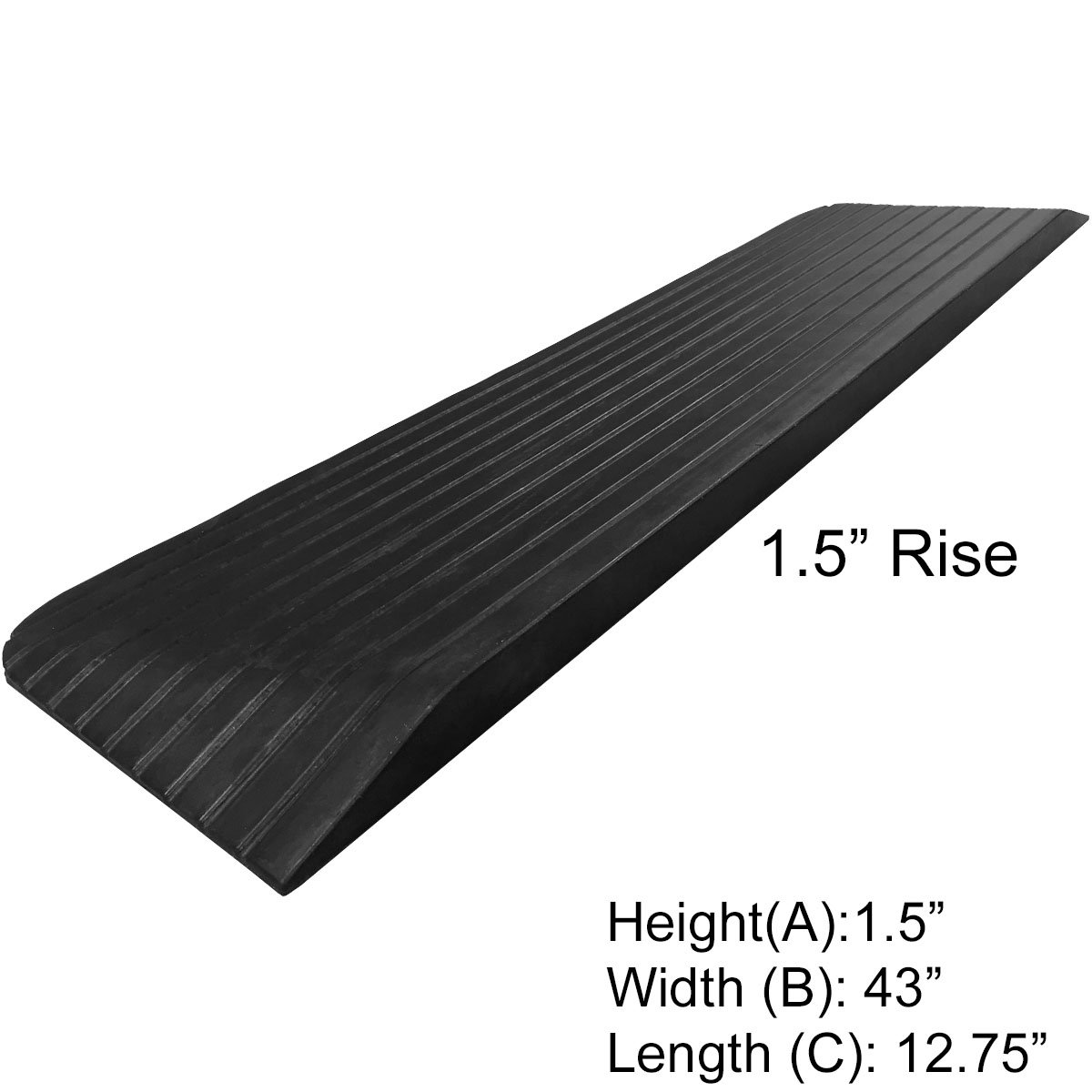 Electriduct 1.5'' Rise Rubber Power Wheelchair Scooter Threshold Ramp