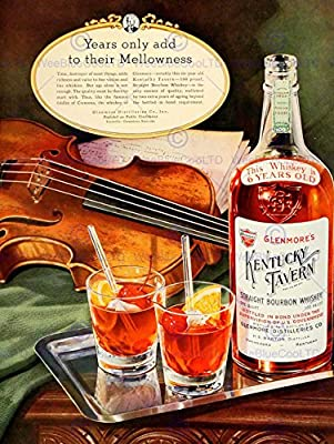 VINTAGE ADVERT ALCOHOL KENTUCKY TAVERN BOURBON WHISKEY GLENMORE NEW FINE ART PRINT POSTER PICTURE 30x40 CMS CC4570