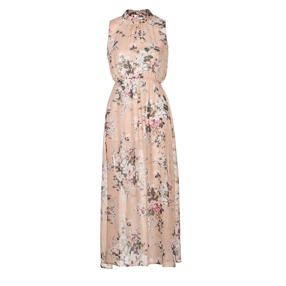 aiNMkm Sexy Dress,Women Chiffon Floral Print Sleeveless Backless Casual Boho Beach Long Maxi Dress,Pink,M