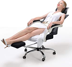 Hbada Ergonomic Office Recliner Chair - High Back Desk Chair Racing Style with Lumbar Support - Height Adjustable Seat, Headrest- Breathable Mesh Back - Soft Foam Seat Cushion with Footrest, White