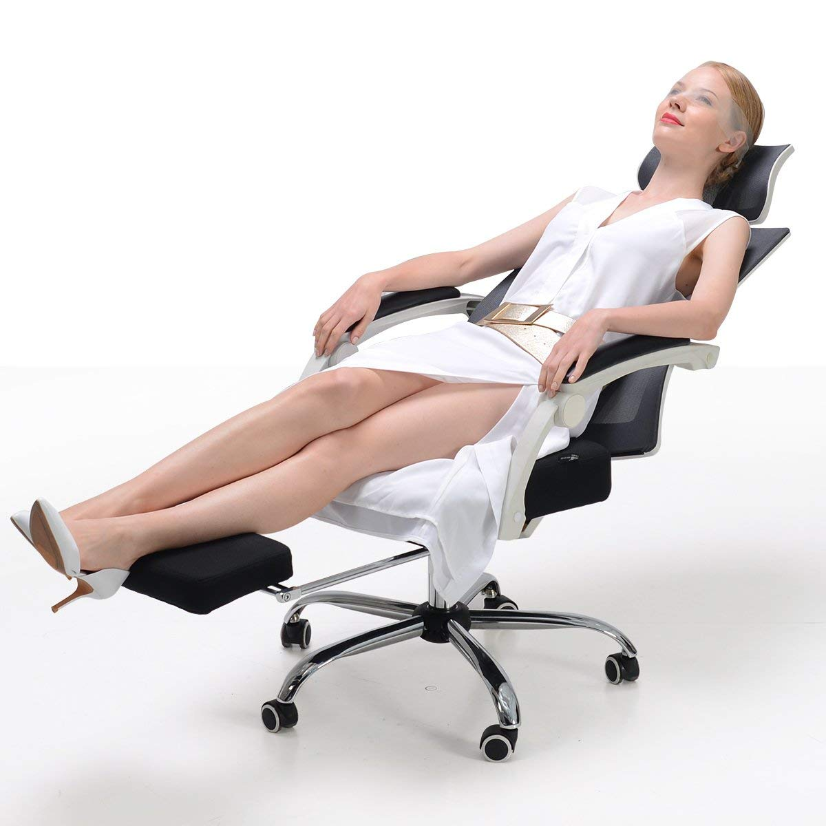 Hbada Ergonomic Office Recliner Chair - High Back Desk Chair Racing Style with Lumbar Support - Height Adjustable Seat, Headrest- Breathable Mesh Back - Soft Foam Seat Cushion with Footrest, White by Hbada