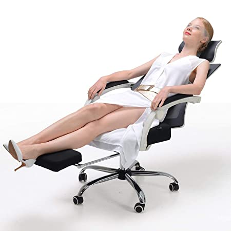 Hbada Ergonomic Office Chair – High-Back Desk Chair Racing Style with Lumbar Support – Height Adjustable Seat,Headrest- Breathable Mesh Back – Soft Foam Seat Cushion with Footrest, White