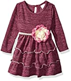 Youngland Baby Girls' Knit Tiered Heatherd Dress with Flower Detail, Burgundy, 24M