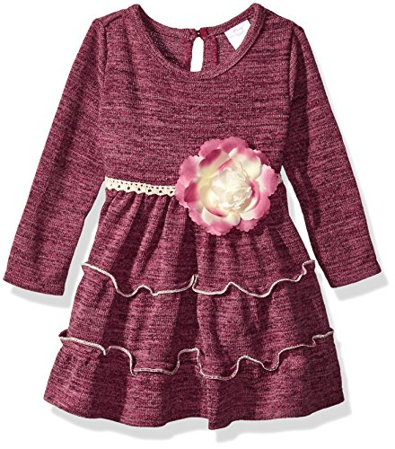 Youngland Baby Girls' Knit Tiered Heatherd Dress with Flower Detail, Burgundy, 18M