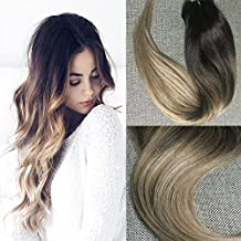 """Full Shine 14"""" 10 Pcs 120G Full Head Clip in Hair Extensions Human Hair Remy Brazilian Clip in Hair Extensions Balayage Hair Color #2 Fading to Color #6#18 Ash Blonde Ombre Clip in Hair Extensions"""