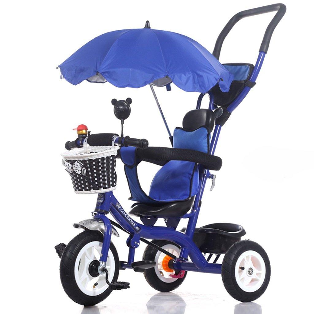 Fenfen Children 's Tricycle 1 – 5年古い自転車トロリーベビー赤ちゃんキャリッジ子供用自転車、パープル/レッド/ブルー/ホワイト/ピンク、71105 CM B07C58SX45ブルー