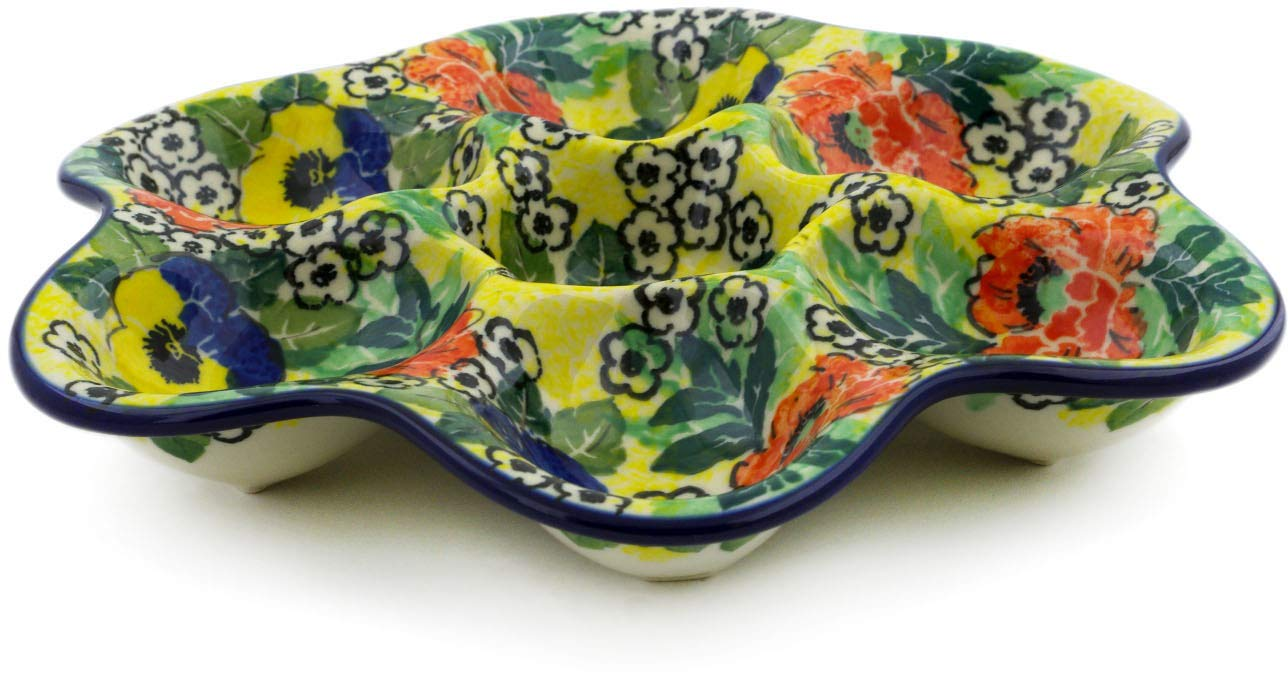 Polish Pottery 8¼-inch Egg Plate made by Ceramika Artystyczna (Breathtaking Theme) Signature UNIKAT + Certificate of Authenticity