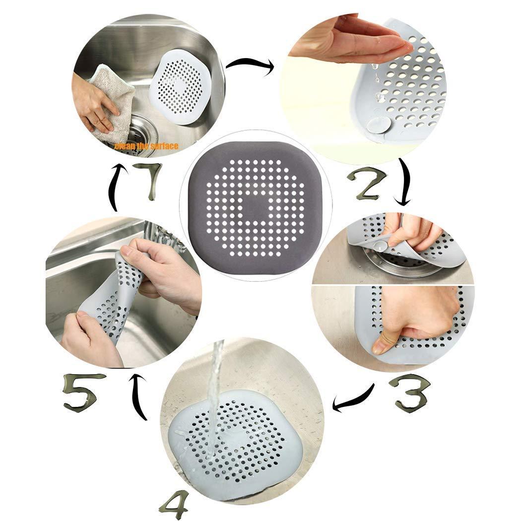 cucina Coperchio di Scarico della Doccia tubo quadrato in silicone cattura capelli tappo con ventosa Filtro di Scarico per Doccia e Bagno per bagno