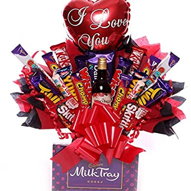 Valentine S Day Chocolate Bouquet With Air Filled I Love You Balloon
