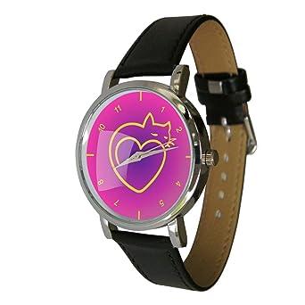 Love diseño de gatos reloj. Gato y Heart. Cat Idea de regalo ideal ...