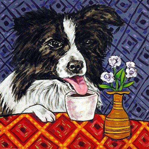 - Border Collie at the Coffee Shop cafe Decor gift dog art tile coaster gift