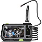 Teslong Dual Lens Borescope with Monitor, Newest 5inch HD IPS Screen Industrial Endoscope with Front View Camera and Side View Camera, 0.21inch Probe, 9.8ft Waterproof Gooseneck, LED Lights, Toolbox