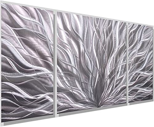 Statements2000 Silver Metal Wall Art by Jon Allen – Modern Wall Decor – Contemporary Design – Silver Flourish III by Jon Allen