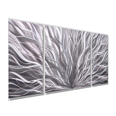 All Natural Silver Wall Panel   Modern Abstract Metal Wall Art Décor,  Contemporary Design
