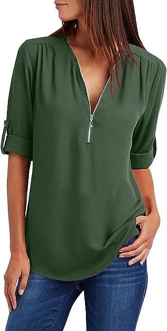 Yuson Girl Camisas Mujer Nuevo Blusas para Mujer Vaquera Sexy Gasa Tops Camisetas Mujer Cremallera Manga Corta Blusas: Amazon.es: Ropa y accesorios