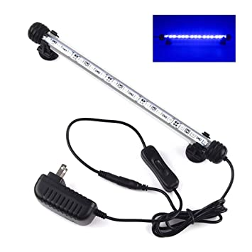 18-48cm LED Lampara Tira Acuario Pecera Sumergible Submarino Luz Blanco,Blue,48CM