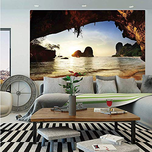 SoSung Natural Cave Decorations Wall Mural,Water Eroded Reed Flute Cave Chinese Cistern Rain Harvest with Artsy Photo,Self-Adhesive Large Wallpaper for Home Decor 83x120 inches,Multi
