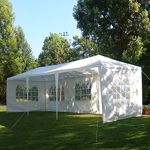 MCombo 10'x30' White Canopy Heavy duty Party Outdoor Wedding Tent 5 Removable Walls 6053-W1030w-5PC (Party Carport)