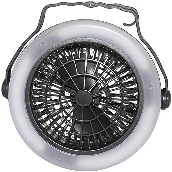 Ventilador para tienda de campaña, funciona con pilas, luz LED y ventilador, 12 luces LED, 3 pilas AA, camping senderismo, viajes, pesca, linterna, negro: Amazon.es: Iluminación