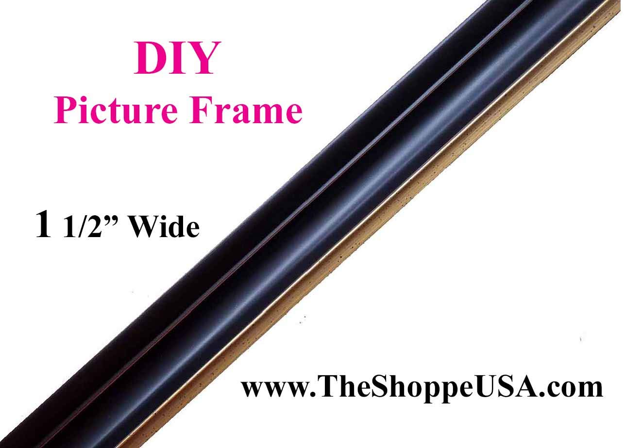 1 1/2' Wide Wholesale 30' x 40' Black & Gold Wood Picture Frame Unassembled