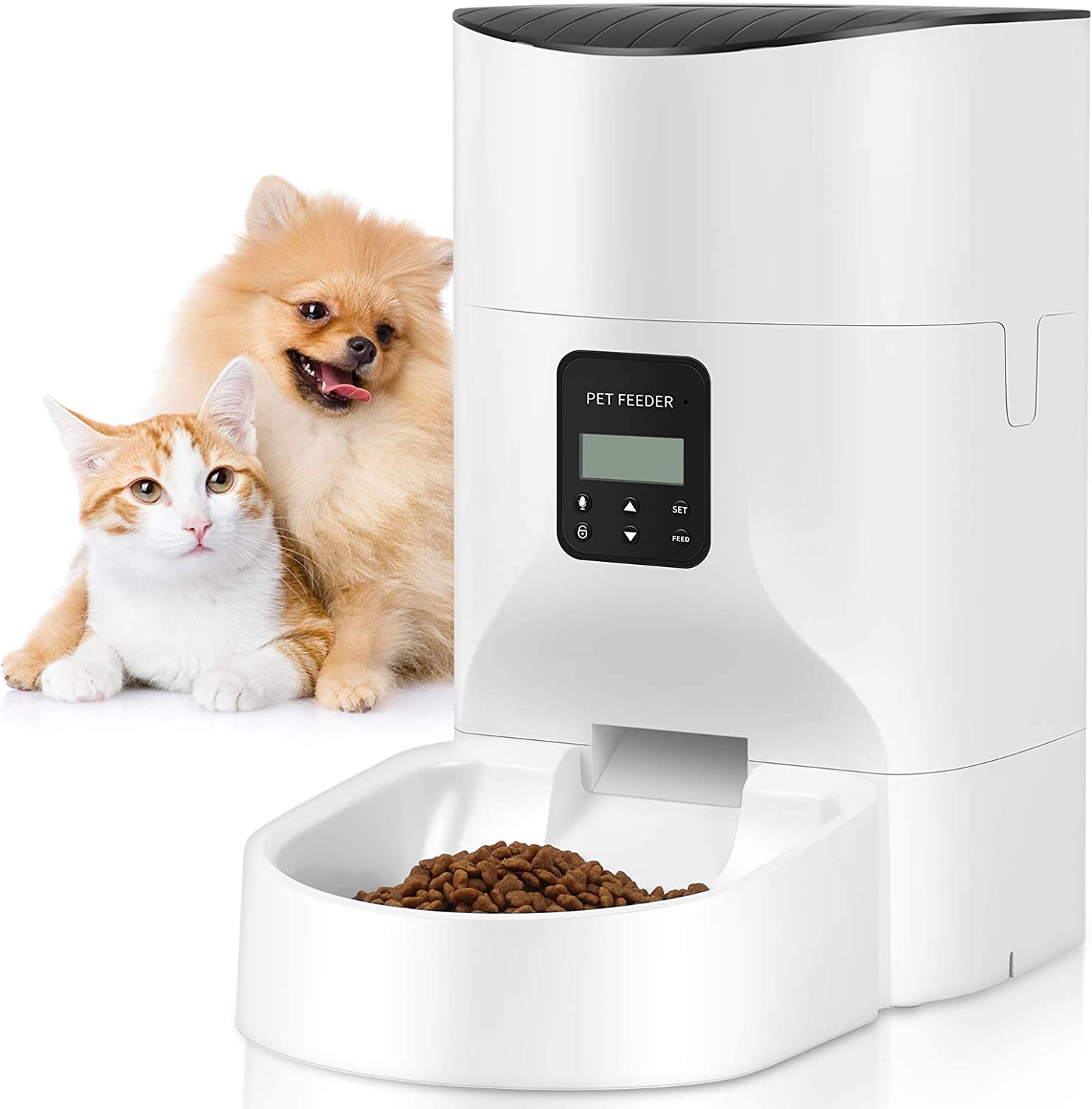 TOO TOO 7L Automatic Dog Feeder, Timer Cat Food Dispenser with Desiccant Bag for Dry Food, Programmable Portion Control 1-4 Meals per Day&Voice Recorder for Small/Medium Pets (White)