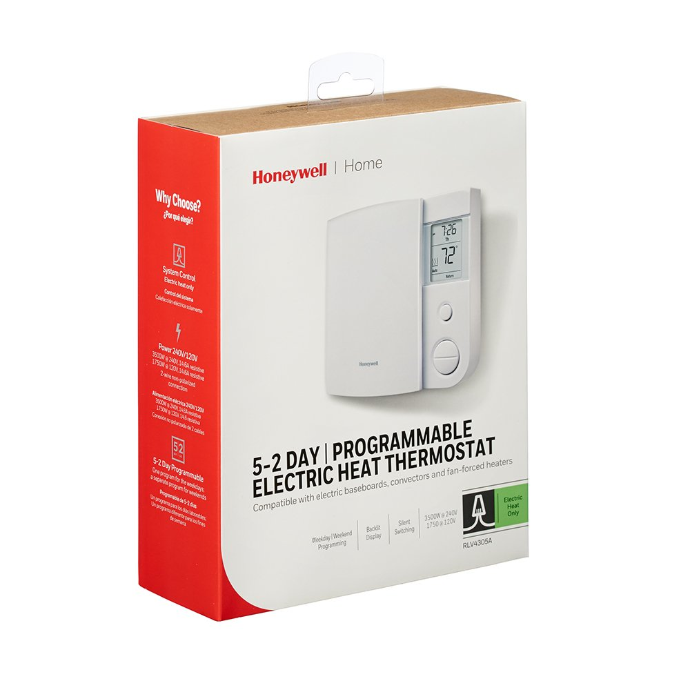 Honeywell Rlv4305a1000 E1 E 5 2 Day Programmable Electric Baseboard Heaters Heater Problems Thermostat 240 V 1 Deg F Household Thermostats